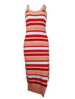 cheap -summer aliexpress amazon new u-neck split dress suspenders striped contrast color ins female skirt 1328