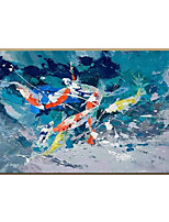 cheap -Oil Painting Handmade Hand Painted Wall Art  Modern Blue Fish Large Size Abstract Art Home Decoration Decor Rolled Canvas No Frame Unstretched