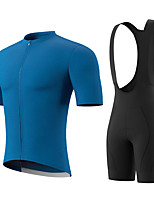 cheap -Men's Short Sleeve Cycling Jersey with Bib Shorts Summer Spandex Bule / Black Solid Color Bike Quick Dry Breathable Sports Solid Color Mountain Bike MTB Road Bike Cycling Clothing Apparel / Stretchy