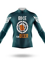 cheap -21Grams Men's Long Sleeve Cycling Jersey Spandex Polyester Dark Green Oktoberfest Beer Bike Jersey Top Mountain Bike MTB Road Bike Cycling Quick Dry Moisture Wicking Breathable Sports Clothing Apparel