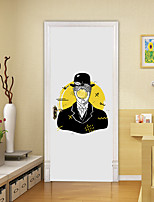 cheap -2pcs Self-adhesive Creative Cartoon Character Door Stickers For Living Room Diy Decoration Home Waterproof Wall Stickers