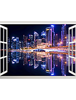 cheap -3D False Window City Night View Home Children's Room Background Decoration Can Be Removed Stickers