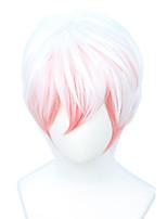 cheap -halloweencostumes Short Straight Pink White Cosplay Wig Halloween Costume Men's Full Wig