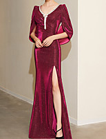cheap -Sheath / Column Beautiful Back Sexy Engagement Formal Evening Dress V Neck Long Sleeve Floor Length Sequined with Pleats Sequin 2021