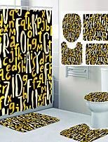 cheap -Letter Design Pattern Printing Bathroom Shower Curtain Leisure Toilet Four-piece Design