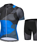 cheap -CAWANFLY Men's Short Sleeve Cycling Padded Shorts Cycling Jersey with Shorts Cycling Shorts Summer Black / Blue Bike Shorts Quick Dry Sports Mountain Bike MTB Road Bike Cycling Clothing Apparel
