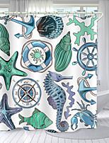 cheap -Ocean Elements Digital Printing Shower Curtain Shower Curtains  Hooks Modern Polyester New Design