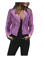 cheap -Women's Faux Leather Jackets Solid Colored Patchwork Casual Spring &  Fall Jacket Regular Daily Long Sleeve PU Coat Tops Black