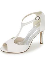 cheap -Women's Wedding Shoes Stiletto Heel Peep Toe Satin Solid Colored White Black Purple