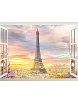 cheap -3D False Window Sunrise Tower Home Children's Room Background Decoration Can Be Removed Stickers