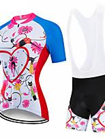 cheap -CAWANFLY Women's Short Sleeve Cycling Padded Shorts Cycling Jersey with Bib Shorts Cycling Jersey with Shorts Summer Spandex Blue+White Heart Animal Bike Shorts Breathable Sports Heart Mountain Bike