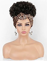 cheap -persephone headband wigs for black women afro kiny curly wig with headband attached dark brown synthetic wigs with leopard headwrap
