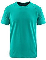 cheap -Men's T shirt Hiking Tee shirt Short Sleeve Crew Neck Tee Tshirt Top Outdoor Quick Dry Lightweight Breathable Sweat wicking Spring Summer POLY Spandex White Black Blue Hunting Fishing Climbing