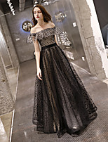 cheap -A-Line Color Block Elegant Engagement Formal Evening Dress Off Shoulder Sleeveless Floor Length Tulle with Pattern / Print 2021