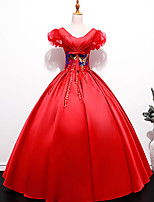 cheap -Ball Gown Glittering Elegant Quinceanera Prom Dress V Neck Short Sleeve Floor Length Satin with Sequin Appliques 2021