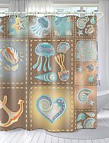 cheap -Marine Lattice Elements Digital Printing Shower Curtain Shower Curtains Hooks Modern Polyester New Design