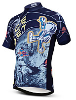 cheap -21Grams Men's Short Sleeve Cycling Jersey Summer Spandex Polyester Dark Blue Galaxy Bike Jersey Top Mountain Bike MTB Road Bike Cycling Quick Dry Moisture Wicking Breathable Sports Clothing Apparel