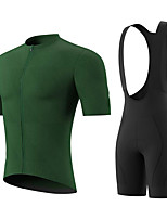 cheap -Men's Short Sleeve Cycling Jersey with Bib Shorts Summer Spandex Green / Black Solid Color Bike Quick Dry Breathable Sports Solid Color Mountain Bike MTB Road Bike Cycling Clothing Apparel / Stretchy