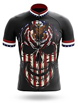 cheap -21Grams Men's Short Sleeve Cycling Jersey Summer Spandex Polyester Black Sugar Skull Skull USA Bike Jersey Top Mountain Bike MTB Road Bike Cycling Quick Dry Moisture Wicking Breathable Sports