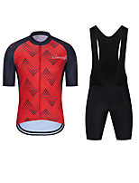 cheap -CAWANFLY Men's Short Sleeve Cycling Padded Shorts Cycling Jersey with Bib Shorts Cycling Jersey with Shorts Summer Spandex Red / White Black / Red Blue+Orange Bike Shorts Breathable Sports Geometic