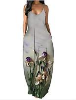 preiswerte -Damen Trägerkleid Maxikleid Gelb Grün Hellgrün Grau Ärmellos Blumen Druck Sommer V-Ausschnitt Freizeit 2021 S M L XL