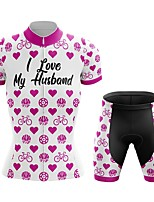 cheap -Women's Short Sleeve Cycling Jersey with Shorts Summer Spandex White Heart Bike Quick Dry Breathable Sports Heart Mountain Bike MTB Road Bike Cycling Clothing Apparel / Stretchy / Athletic