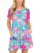 cheap -Women's T Shirt Dress Tee Dress Short Mini Dress Blushing Pink Short Sleeve Color Block Geometric Pocket Print Spring Summer Round Neck Casual 2021 S M L XL XXL 3XL