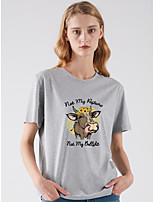 cheap -Women's T shirt Cow Print Round Neck Basic Tops White Fuchsia Light gray