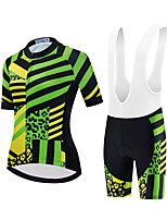 cheap -Women's Short Sleeve Cycling Jersey with Shorts Summer Spandex White Black Stripes Leopard Bike Quick Dry Breathable Sports Stripes Mountain Bike MTB Road Bike Cycling Clothing Apparel / Stretchy