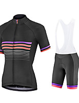cheap -Women's Short Sleeve Cycling Jersey with Shorts Summer Spandex White Black Stripes Bike Quick Dry Breathable Sports Stripes Mountain Bike MTB Road Bike Cycling Clothing Apparel / Stretchy / Athletic
