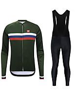 cheap -CAWANFLY Men's Long Sleeve Cycling Jersey with Tights Cycling Pants Cycling Bib Tights Spandex Green / Black Green Bike Breathable Sports Geometic Mountain Bike MTB Road Bike Cycling Clothing Apparel