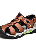 cheap -Men's Sandals Daily PU Breathable Light Brown Dark Brown Black Spring Summer