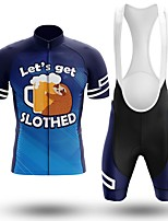 cheap -Men's Short Sleeve Cycling Jersey with Bib Shorts Winter Summer Spandex Blue Oktoberfest Beer Bike Quick Dry Breathable Sports Letter & Number Mountain Bike MTB Road Bike Cycling Clothing Apparel