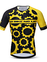 cheap -21Grams Men's Short Sleeve Cycling Jersey Summer Spandex Polyester Black / Yellow Gear Bike Jersey Top Mountain Bike MTB Road Bike Cycling Quick Dry Moisture Wicking Breathable Sports Clothing Apparel
