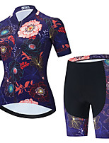 cheap -Women's Short Sleeve Cycling Jersey with Shorts Summer Spandex Dark Navy Floral Botanical Bike Quick Dry Breathable Sports Floral Botanical Mountain Bike MTB Road Bike Cycling Clothing Apparel