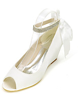 cheap -Women's Wedding Shoes Wedge Heel Peep Toe Satin Sparkling Glitter Ribbon Tie Solid Colored White Purple Red