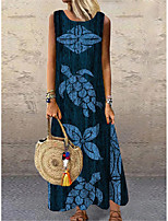 cheap -Women's Shift Dress Maxi long Dress Blue Sleeveless Floral Print Animal Print Spring Summer Round Neck Casual Holiday 2021 S M L XL XXL 3XL