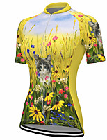 cheap -21Grams Women's Short Sleeve Cycling Jersey Summer Spandex Polyester Yellow Cat Floral Botanical Bike Jersey Top Mountain Bike MTB Road Bike Cycling Quick Dry Moisture Wicking Breathable Sports