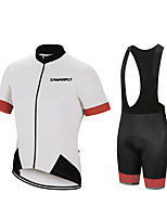 cheap -CAWANFLY Men's Short Sleeve Cycling Padded Shorts Cycling Jersey with Bib Shorts Cycling Jersey with Shorts Summer Spandex Black / Red Black / Yellow Black / Orange Bike Shorts Breathable Sports