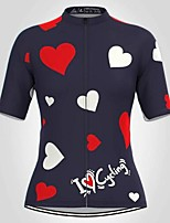 cheap -21Grams Women's Short Sleeve Cycling Jersey Summer Spandex Polyester Dark Blue Heart Bike Jersey Top Mountain Bike MTB Road Bike Cycling Quick Dry Moisture Wicking Breathable Sports Clothing Apparel