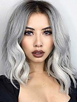 cheap -sallcks ombre silver grey wig short wavy middle part dark roots wig synthetic cosplay wigs for women girls
