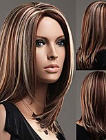 cheap -gnimegil women medium length straight wig brown blonde mixed color hair wigs synthetic hair fancy dress costume party wig fashion wigs remy women wig (wig head circumference size is 20-24inches)