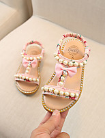 cheap -Girls' Sandals Flower Girl Shoes Children's Day Princess Shoes PU Katy Perry Sandals Little Kids(4-7ys) Daily Home Walking Shoes Rhinestone Bowknot Pearl White Black Pink Summer