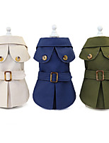 cheap -Dog Cat Dog clothes Solid Colored Euramerican Dailywear Casual / Daily Winter Dog Clothes Puppy Clothes Dog Outfits Warm Khaki Green Dark Blue Costume for Girl and Boy Dog Polyester S M L XL XXL