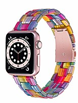cheap -Smart watch band resin bands compatible with apple watch 44mm series 6/se/5/4, 42mm 3/2/1 replacement iwatch wristband stainless steel buckle strap women