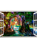 cheap -3D False Window Colorful Tree Hole Small Bridge Running Water Children's Room Background Decoration Can Be Removed Stickers