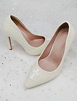 cheap -Women's Wedding Shoes Stiletto Heel Pointed Toe Wedding Pumps PU Rhinestone Solid Colored Geometric White