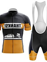 cheap -Men's Short Sleeve Cycling Jersey with Bib Shorts Winter Summer Spandex Black / Yellow Bike Quick Dry Breathable Sports Graphic Mountain Bike MTB Road Bike Cycling Clothing Apparel / Stretchy