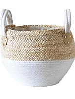 cheap -1Pcs Storage Garden Basket Rattan Straw Wickerwork Basket Folding Seagrasss Flower Pot Planter-29 x 29 x 30CM