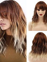 cheap -Wig with Bangs for Women Pink Wavy Hair Short Colored Synthetic Heat Resistant Wigs Natural Looking for Cosplay Daily Party(14Pink)